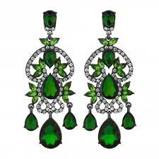 green crystal chandelier statement earring