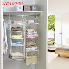 Folding Wardrobe Clothes Underwear Storage Rack Hooks Home Closet