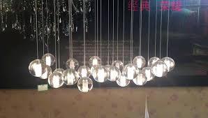glass ball chandelier light led rectangular floating steel wire detail modern