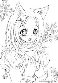 Angel Coloring Pages Online Anime Wolf Girl And Devil Inspirational