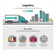 Cargo Web Design One Page Web Design Template With Thin Line Icons Of Cargo Container