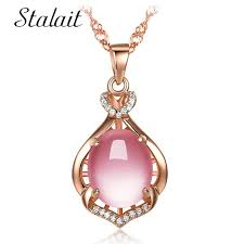 new fashion hibiscus stone necklace women fashion lady rose gold opal round pendant necklace crown chain gift charm necklace
