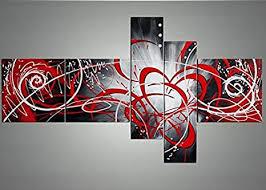 Yatsen Bridge Globalartwork- <b>Handpainted</b> 5 Piece Black White ...
