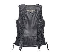 harley davidson women s boone fringed leather vest deep v neckline