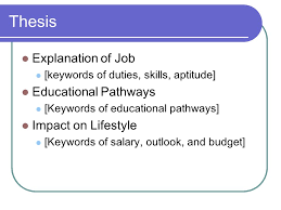 image related to your project title your teacher s 4 thesis explanation of job keywords of duties skills aptitude educational pathways keywords of educational pathways impact on lifestyle keywords of
