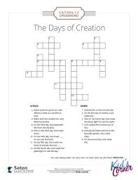 Day Light Crossword The Days Of Creation Crossword