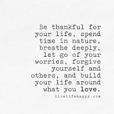 Quotes About Being Thankful Interesting Be Thankful For Your Life Spend Time In Nature Breathe Deeply Let
