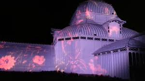 Holiday Lights At Sf Conservatory Psychedelic Light Show Flower Conservatory Sf Golden Gate Park