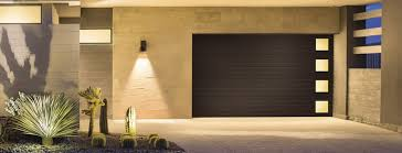 looking out door. Contemporary Collection Steel Series, Modern Grooved Panel Shown In Mocha Brown With Plain Short Windows Down Left Side (from Inside Garage Looking Out) Out Door
