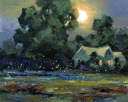 fireflies moonlight night scene 8x10 inch original oil painting by tom brown