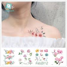 Rocooart цветок временные татуировки для женщин тату наклейка на руку мода