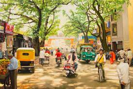 india street scene 4 oil painting rural landscape street scene by dominique amendola