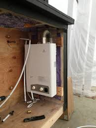 tiny house water system. The Eccotemp FVI12-LP Tankless Water Heater (installed In A Protruding Cabinet At Back Of My Tiny House) Is Liquid Propane Fired, Forced Vent, House System C