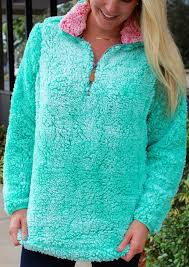 Simply Southern Sherpa Size Chart Simply Southern Womens Sherpa Pullover In Seaglass Green Medium