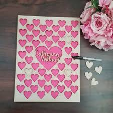 Personalised Signing Heart Guest Book Bridal Bling
