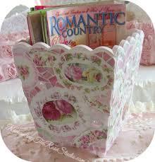Pink Magazine Holder Romancing The Rose Studio Shabby chic mosaic pink rose