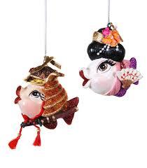 Kissing fish ornament Samurai Warrior & Kabuki Katherine's Collection  dancer fan ornament