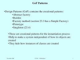 Gof Design Patterns Design Patterns Gof Contains The Creational Patterns
