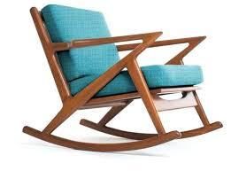 modern wooden rocking chair creative modern wood rocking chair with blue seat brown modern wood rocking