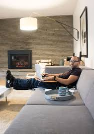 a work from home setup with a warm gas fireplace