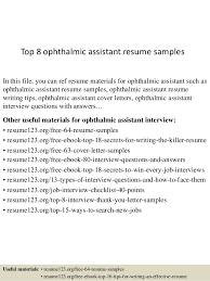 Top 8 ophthalmic assistant resume samples In this file, you can ref resume  materials for ...