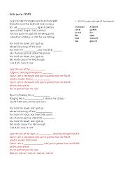 Worksheet: Roar by Katy Perry
