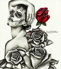 Dessin Femme Crane Mexicain Et Roses Aux Crayons De Couleurs Et