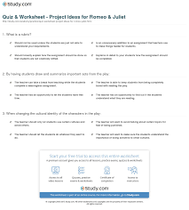 quiz worksheet project ideas for romeo juliet com print romeo and juliet project ideas for teachers worksheet