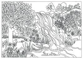 Small Picture Printable Waterfall Nature Scene Photo Image Coloring Pages For