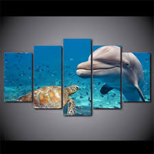 dolphin turtle 5 panel canvas wall art oceanhelper  on dolphin canvas wall art with dolphin turtle 5 panel canvas wall art ocean helper
