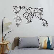 geometric metal world map luxury wall
