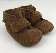 Minnetonka Moccasins Baby Soft Leather Shoes Tan Brown