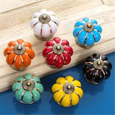1pcs colorful countryside pumpkin ceramic door drawer cabinet wardrobe pull handle knobs christmas antique drawer handles cheap furniture knobs