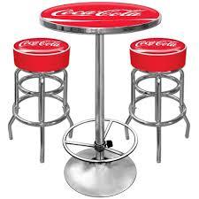com coca cola ultimate gameroom combo 2 bar stools pub table sports outdoors