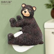 Cute Bear Paper Towel Holder On Ceramic Bathroom Wall Decor Idea ...