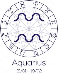 Zodiac Sign Aquarius Astrological Symbol In Wheel