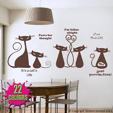 chocolate cool cats wall decal on a dining room wall