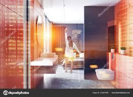 Moderne Orange Wand Badezimmer Interieur Mit Betonboden Weißen