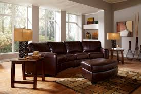Living Room With Brown Leather Couch American Design Furniture Stationary Living Rooms