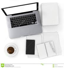 3d top view of an office desk with laptop and doents
