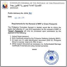 Sa Mrp Renewal Green Passport Arabia Or Saudi Ofw Buhay For Requirements Ang Of