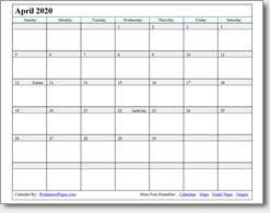 Free Printable April Calendar 2020 April 2020 Printable Calendar Print As Many As You Want