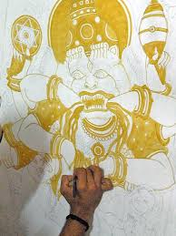 the first shade of color used in kerala mural is yellow