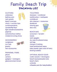 Vacation Checklist Free Printable Packing List For Family Beach Vacations