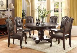 details about new princeton formal round cherry finish carved wood leather dining table set