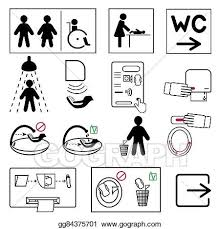 EPS Vector Toilet And Bathroom Signs For Public Places Stock New Bathroom Sign Vector Style