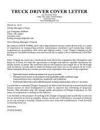 Truck Driver Cover Letter Sample Resume Companion