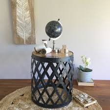 round barrel side table