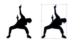 オタ芸ダンスのシルエット影絵素材 あ2019 影絵シルエット