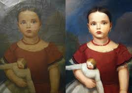 american primitive portrait oil painting before and after cleaning and restoration